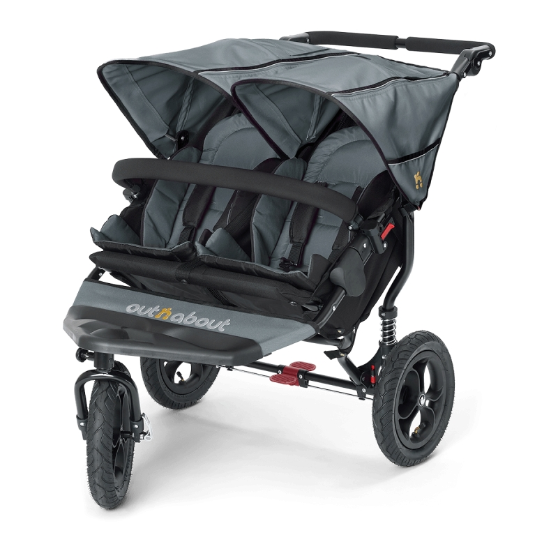 Out n About Nipper Double 360 V4 Stroller-Steel Grey + FREE Clip On Toy Worth £20!