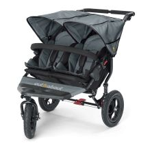 Out n About Nipper Double 360 V4 Stroller-Steel Grey -FREE DOUBLE SHOPPING BASKET!