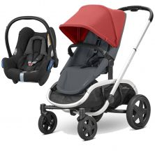 Quinny Hubb Silver Frame 2in1 Cabriofix Travel System-Red/Graphite