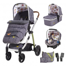 Cosatto Wow 3in1 Whole 9 Yards Travel System with Port 0+ Car Seat-Dawn Chorus