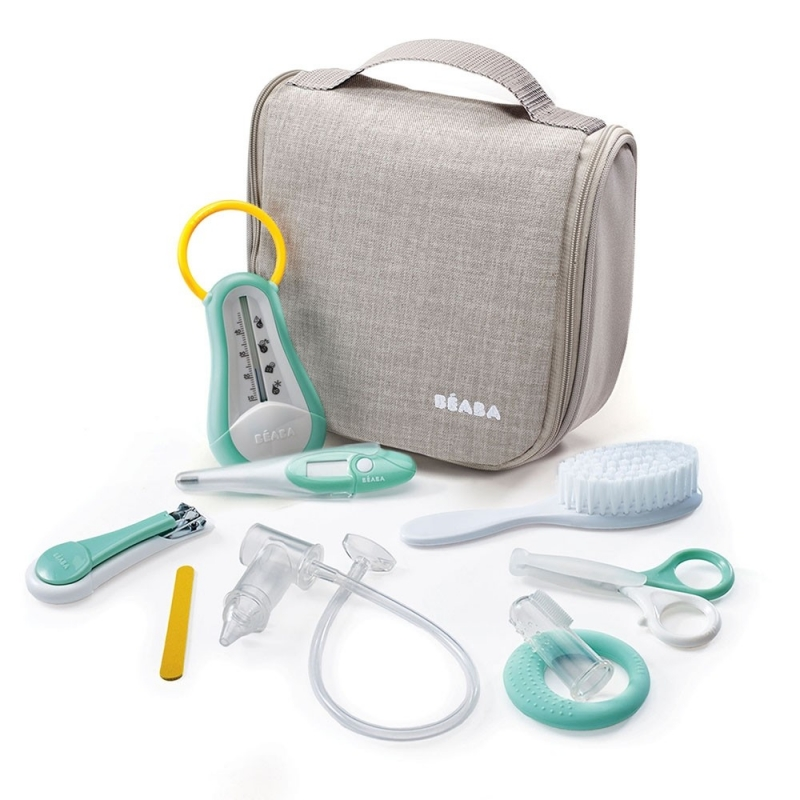 Image of Beaba Hanging Toiletry Pouch With 9 Accessories-Grey