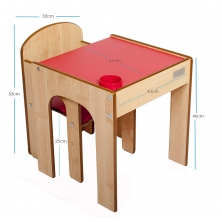 Little Helper FunStation Toddler Table and Chair Set-Maple/Red