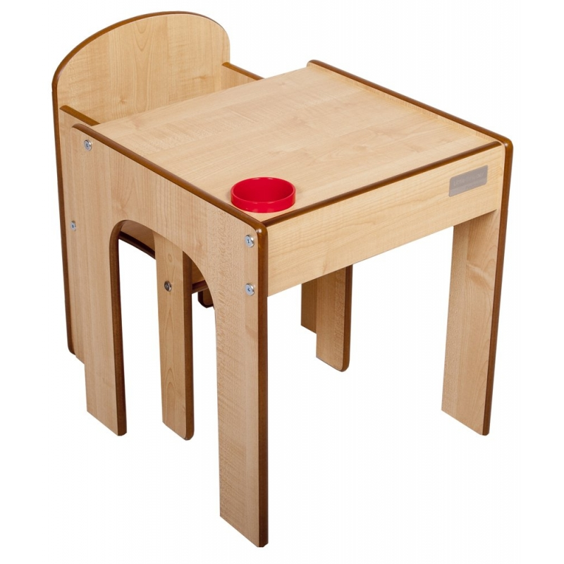 Little Helper FunStation Toddler Table and Chair Set-Maple