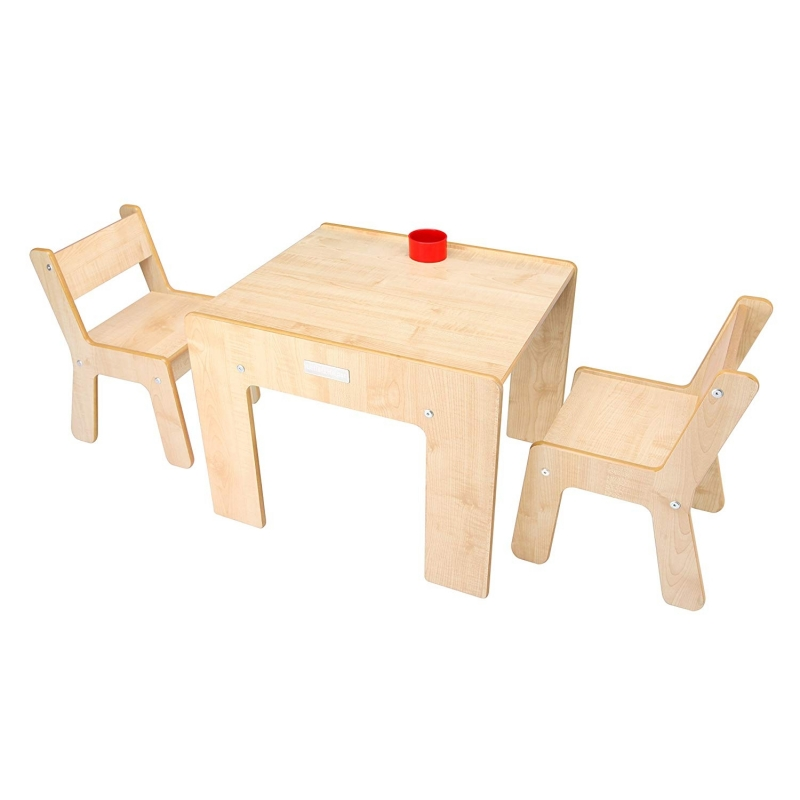 Little Helper New FunStation Duo Toddler Table and 2 Chair Set-Maple