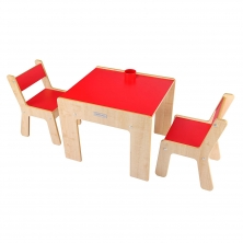 Little Helper New FunStation Duo Toddler Table and 2 Chair Set-Maple/Red