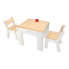 Little Helper New FunStation Duo Toddler Table and 2 Chair Set-Maple/White