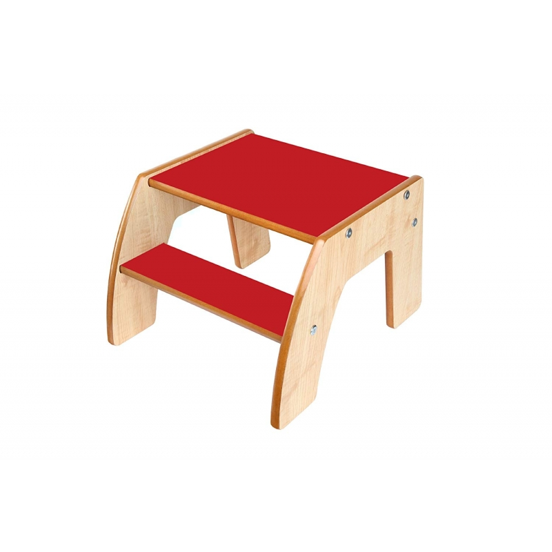 Little Helper FunStep Toddler & Child Safety Step Stool-Maple/Red