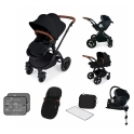 Ickle Bubba Stomp V3 Black Frame I-SIZE Travel System With Mercury Carseat & Isofix Base-Black