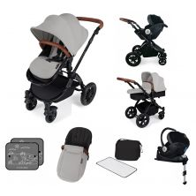 Ickle Bubba Stomp V3 Black Frame I-SIZE Travel System With Mercury Carseat & Isofix Base-Silver