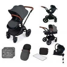 Ickle Bubba Stomp V3 Black Frame I-SIZE Travel System With Mercury Carseat & Isofix Base-Graphite Grey