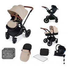 Ickle Bubba Stomp V3 Black Frame I-SIZE Travel System With Mercury Carseat & Isofix Base-Sand