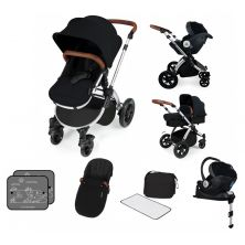 Ickle Bubba Stomp V3 Silver Frame I-SIZE Travel System With Mercury Carseat & Isofix Base-Black