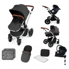 Ickle Bubba Stomp V3 Silver Frame I-SIZE Travel System With Mercury Carseat & Isofix Base-Graphite Grey