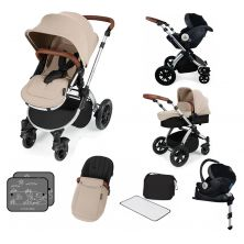 Ickle Bubba Stomp V3 Silver Frame I-SIZE Travel System With Mercury Carseat & Isofix Base-Sand