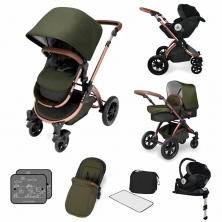 Ickle Bubba Stomp V4 I-SIZE Travel System With Mercury Carseat & Isofix Base-Woodland Bronze