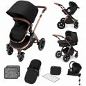 Ickle Bubba Stomp V4 I-SIZE Travel System With Mercury Carseat & Isofix Base-Midnight Bronze