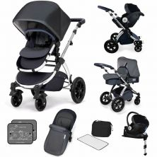 Ickle Bubba Stomp V4 I-SIZE Travel System With Mercury Carseat & Isofix Base-Blueberry Chrome