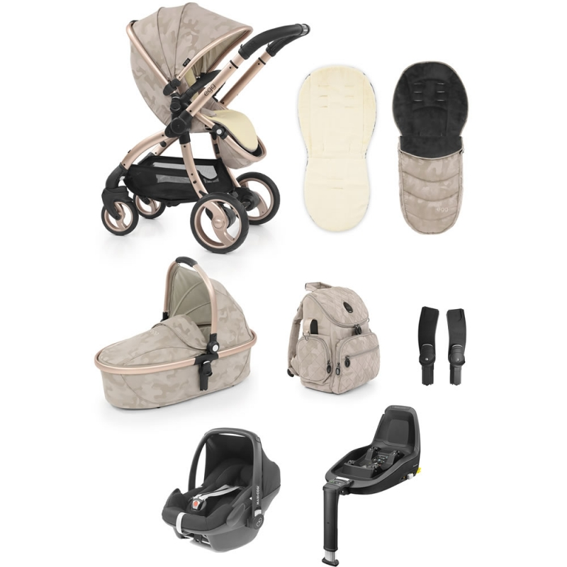 Egg� Special Edition Luxury 3in1 Pebble+ Travel System With Familyfix3 Base Camo Sand (New 2019)