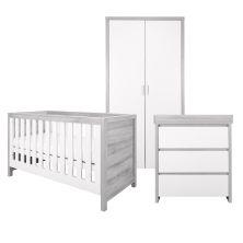 Tutti Bambini Modena 3 Piece Room Set-Grey Ash and White