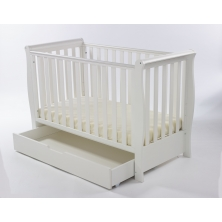 Kiddies Kingdom MINI Sleigh Cot/DRAWER-White + FREE FOAM MATTRESS