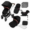 Ickle Bubba Stomp V4 Chrome Frame Travel System With Galaxy Carseat & Isofix Base-Midnight Bronze