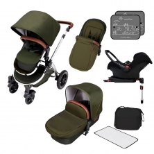 Ickle Bubba Stomp V4 Chrome Frame Travel System With Galaxy Carseat & Isofix Base-Woodland Chrome