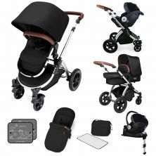 Ickle Bubba Stomp V4 I-SIZE Travel System With Mercury Carseat & Isofix Base-Midnight Chrome