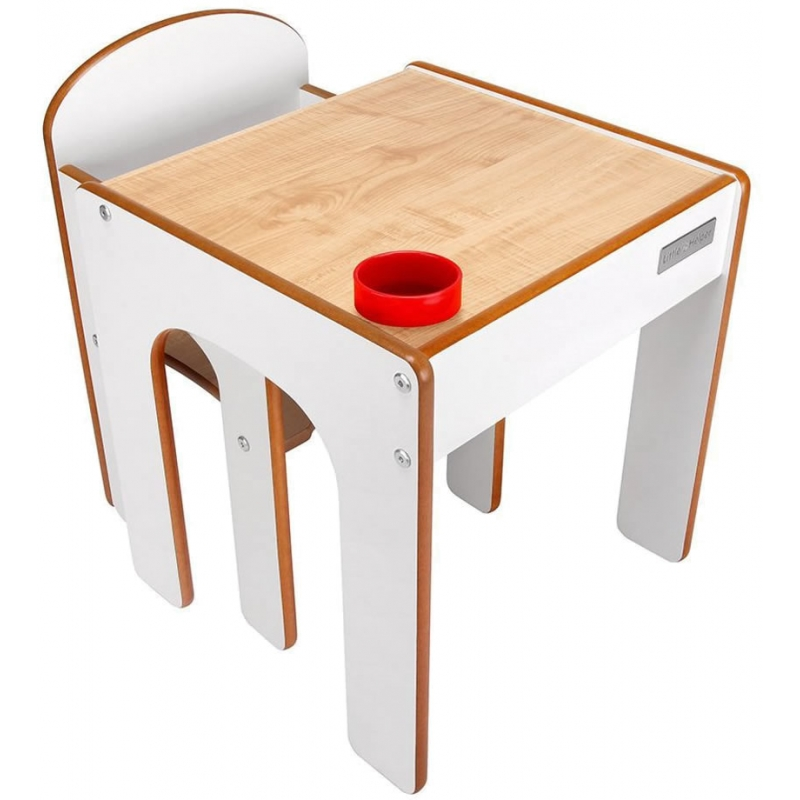 Little Helper FunStation Toddler Table and Chair Set-Maple/White