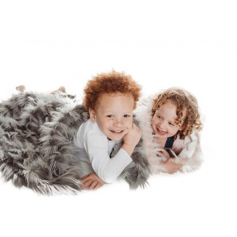Bizzi Growin Rebel Faux Fur Grey Baby Blanket