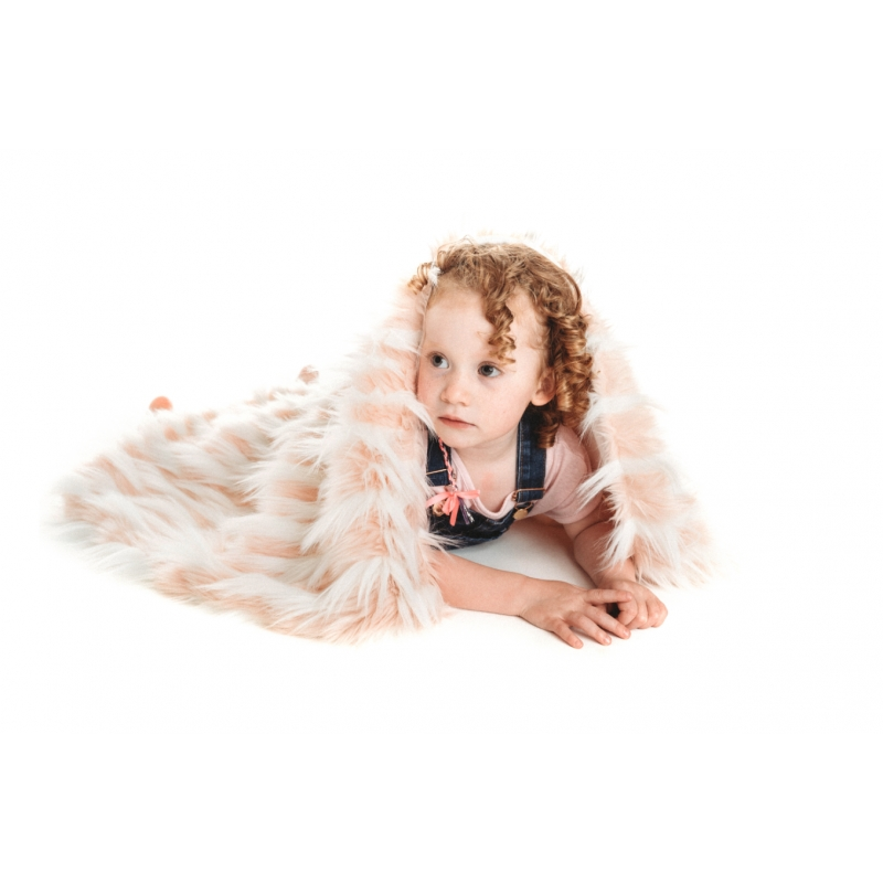 Bizzi Growin Rebel Faux Fur Baby Blanket-Pink