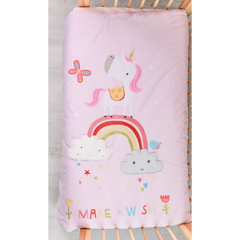 Bizzi Growin Cot Bed Quilt-Rainbow & Unicorns