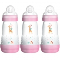 MAM Anti Colic Bottle 260ML (Pack of 3)-Pink