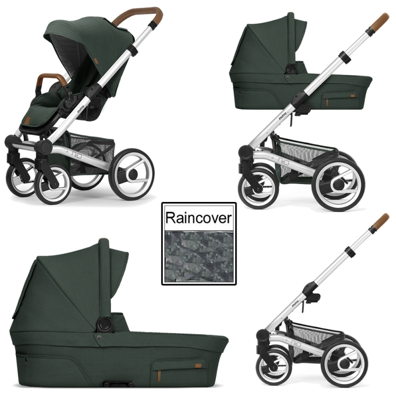 Mutsy Nio Adventure 3in1 Silver Chassis Pine Green