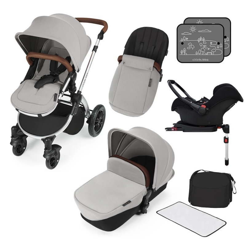 Ickle Bubba Stomp V3 Silver Frame Travel System With Galaxy Carseat & Isofix Base-Silver **