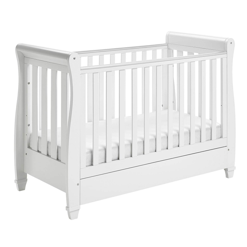 Babymore Eva Sleigh Cot Bed DROPSIDE with Drawer-White