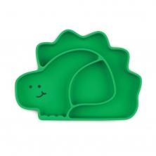 Bumkins Silicone Grip Dish-Green Dinosaur