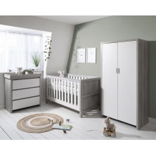 Tutti Bambini Modena 3 Piece Room Set-Grey Ash and White