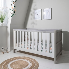Tutti Bambini Modena Cot Bed-Grey Ash and White