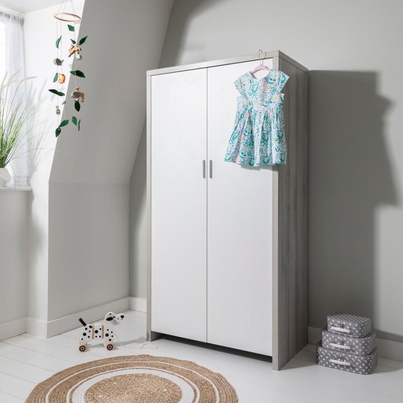 Tutti Bambini Modena Wardrobe-Ash Grey and White
