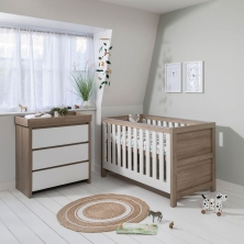 Tutti Bambini Modena 2 Piece Room Set-White and Oak+ FREE Tutti Bambini Cotbed Mattress Worth £39.00!