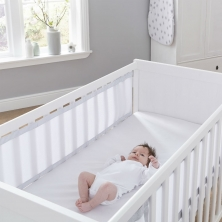 Purflo Breathable Cot Bumper-Grey/White Stripe