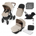 Ickle Bubba Stomp V3 Silver Frame Travel System With Galaxy Carseat & Isofix Base-Sand