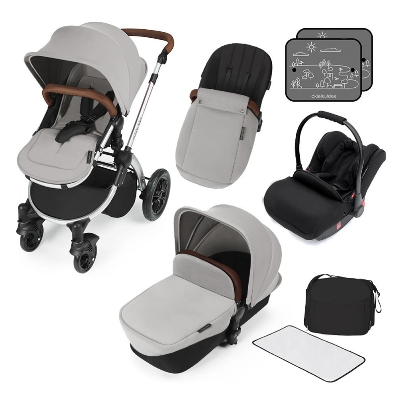 Ickle Bubba Stomp V3 Silver Frame All-in-one Travel System-Silver