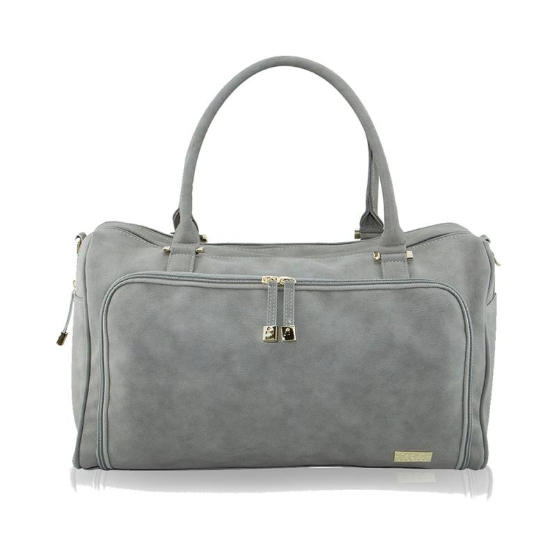 isoki Double Zip Satchel Changing Bag-Stone