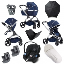 iCandy Peach Chrome 9 Piece Bundle-Indigo