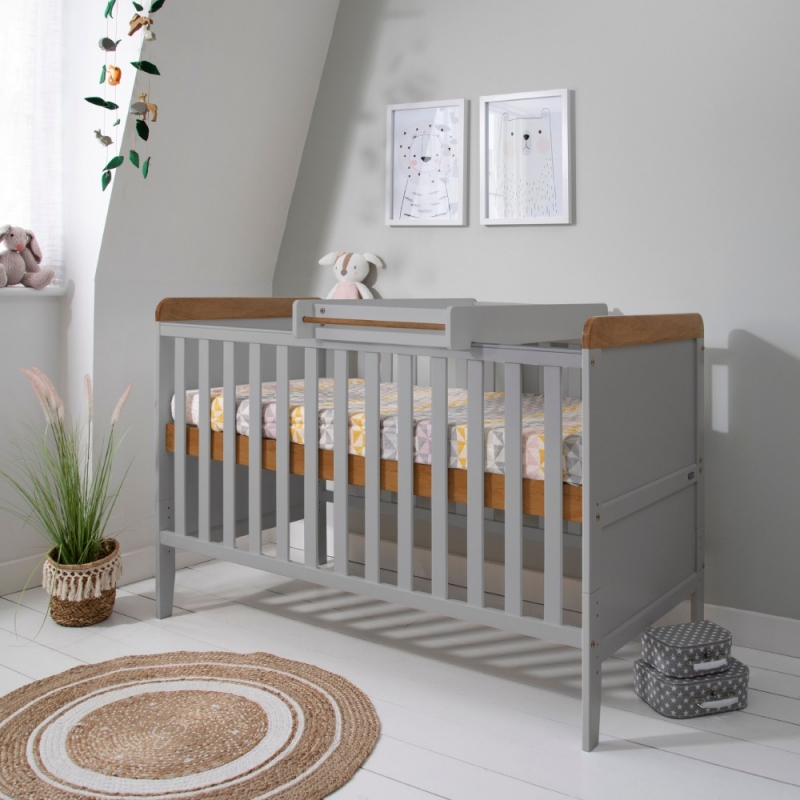 Tutti Bambini Rio Cot Bed Bundle Including Cot Top Changer & Mattress-Dove Grey/Oak
