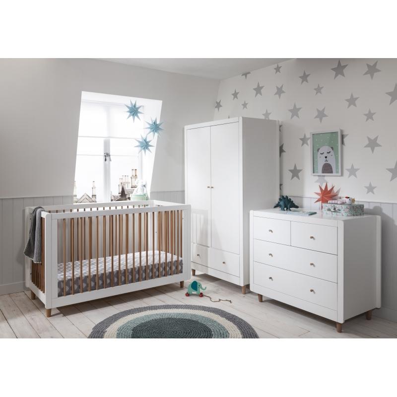 Tutti Bambini Siena 3 Piece Furniture Room Set-White/Beech