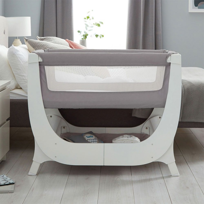 Shnuggle Air Bedside Crib With FREE Crib Mattress-Dove Grey