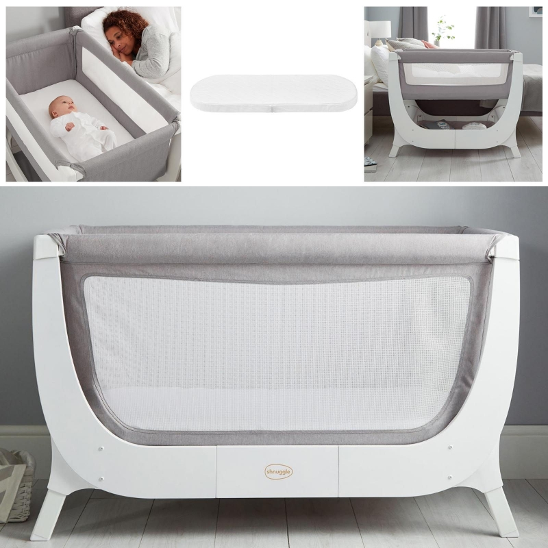 Shnuggle Air 2in1 Bedside Crib / Cot With Air Cot Mattress-Dove Grey