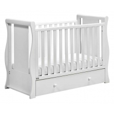 East Coast Nebraska Sleigh With Drawer Cot2bed-White